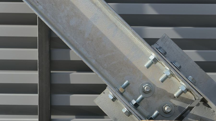 Construction Site Consruction Architecture Railing No People Metal Built Structure Pattern Close-up Sunlight Day Full Frame Silver Colored Building Steel