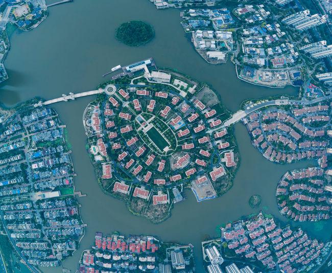 Fish eye lens view of buildings in city