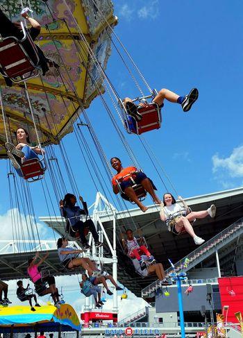 Sky Amusement Park Real People Amusement Park Ride Outdoors Blue Sky CNE Happy Smiles Summertime