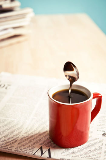 Funny morning Business Coffee Funny Home Morning Office Spoon Work Black Coffee Carrier Close-up Coffee Break Coffeein Day Drink Enjoy Idea Indoors  Magic Medien Newspaper No People Red Color Stressful Wakeup