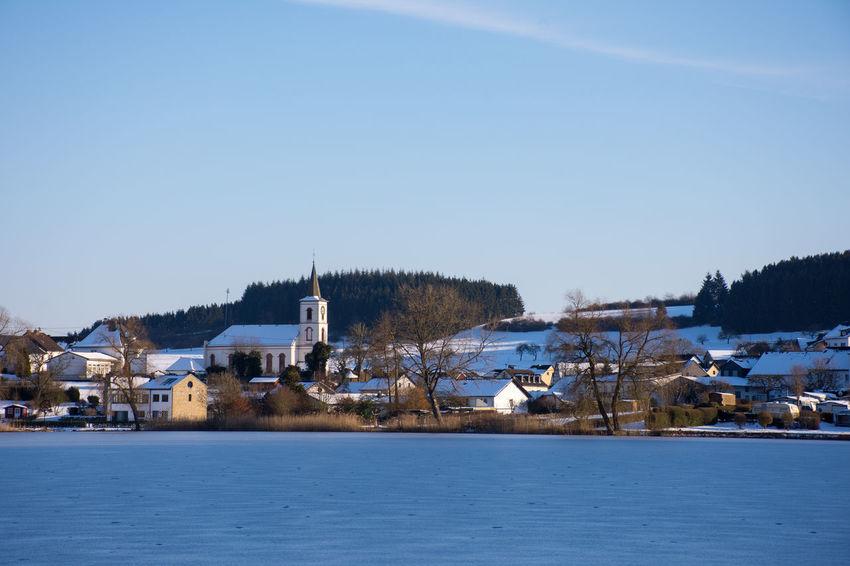 Eifel Germany EyeEm Nature Lover Frozen Lake GERMANY🇩🇪DEUTSCHERLAND@ Schalkenmehren Schalkenmehrener Maar Beauty In Nature Clear Sky Cold Temperature Eifel Frozen Landscape Outdoors Rhineland-palatinate Scenics Snow Winter