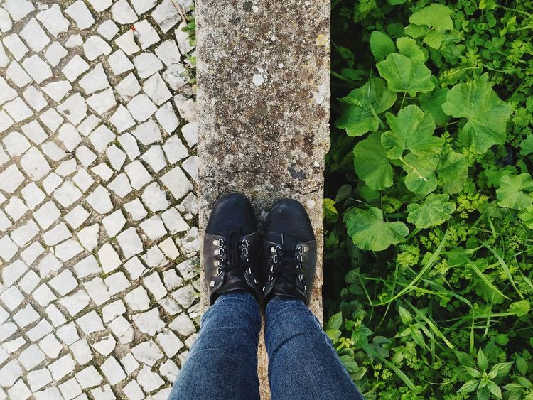 Duality TeresaGasparPhotography Duality Nature Calçada Portuguesa Calcadaportuguesa Naturesway Low Section Shoe Human Leg High Angle View Personal Perspective Standing One Person Outdoors Real People First Eyeem Photo
