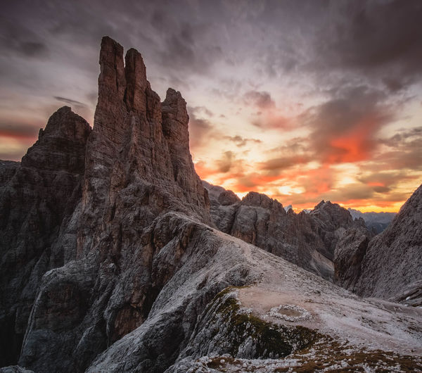 || We can be Heroes || Rock - Object Rock Formation Beauty In Nature Cloud - Sky Landscape Nature Travel Destinations Mountain Sunlight Tranquility Outdoors Sky Mountain Peak No People Sunrise Dolomites, Italy Trentino Alto Adige Vajolet