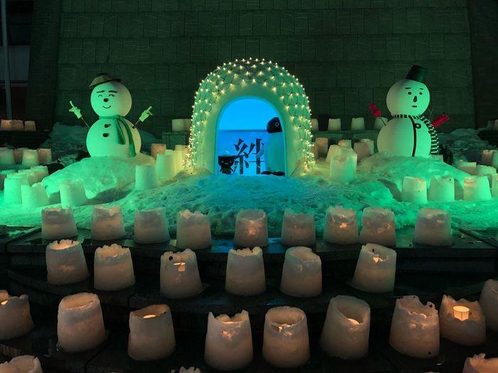The Snow Festival in Morioka, Japan. uniqueness Tohoku Iwate Morioka Japanese Culture Tadaa Community Colourful Illuminated Winter Snowman Snow Festival Indoors  No People Night