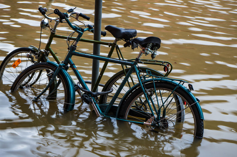 Fahrräder im Wasser bei Hochwasser in Heidelberg Transportation Water Mode Of Transportation Bicycle Land Vehicle Day No People Nature Stationary Reflection Waterfront Lake Outdoors Travel Rippled Street High Angle View City Animal Wheel Fahrrad Wasser Heidelberg Hochwasser Neckar