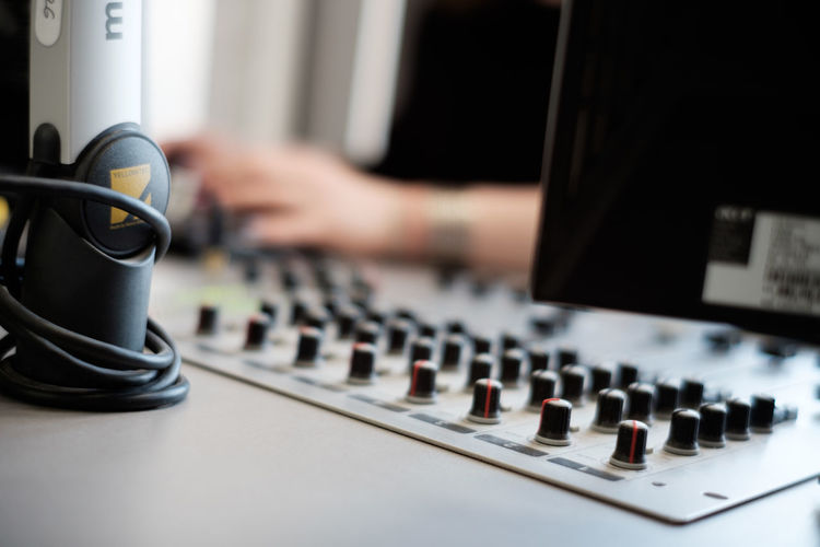 Human Hand Control Panel Mixing Recording Studio Technology Musician Sound Mixer Music Dj Sound Recording Equipment Audio Electronics Switch Radio Station Record Radio DJ Amplifier Turntable Connection Block