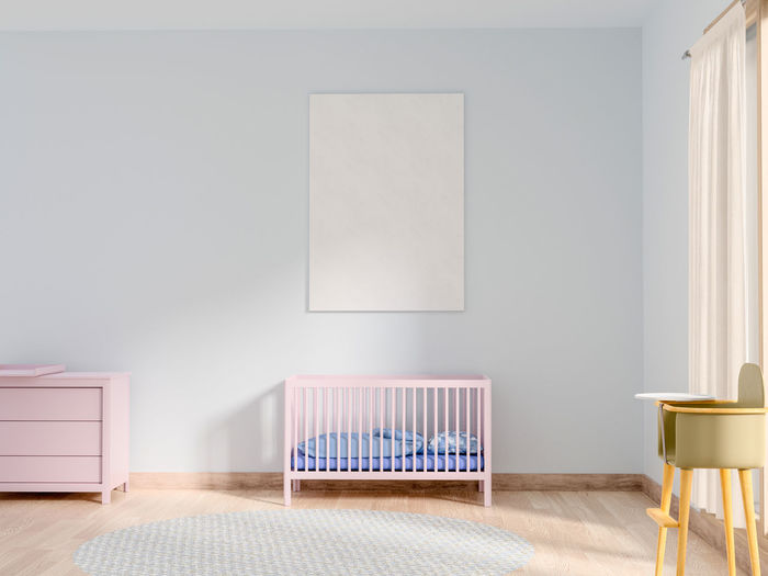 Mock up poster in baby bedroom. Seat Furniture Indoors  Chair Absence Domestic Room Empty Table Home Interior No People Flooring Wood - Material Living Room Wall - Building Feature Copy Space Home Showcase Interior Home Simplicity Frame Hardwood Floor Blank Side Table Baby Bedroom Poster