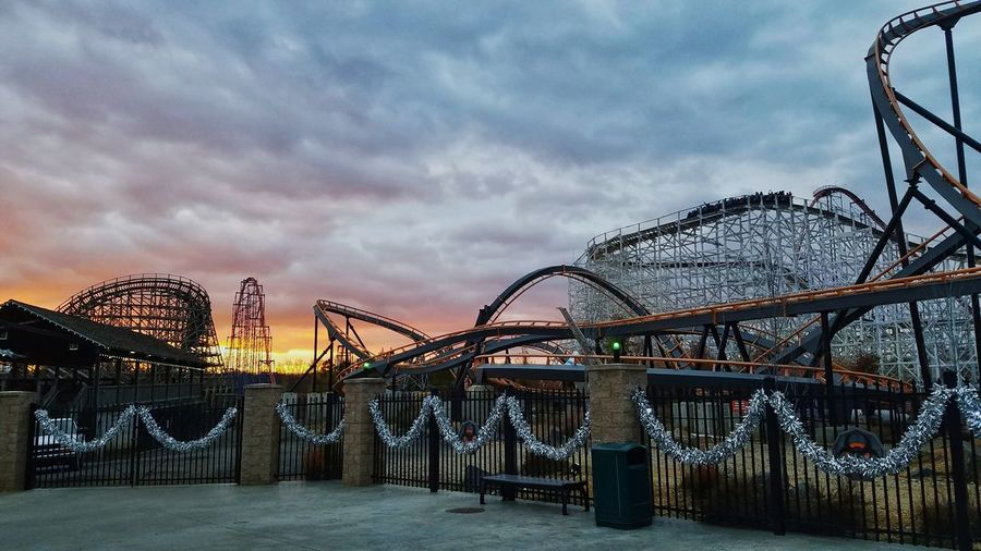 Four Coasters Six Flags America Theme Park Amusement Park Roller Coaster Thrill Rides Sunset Steel Wood Roar Superman Wild One Sky Travel Destinations Vacations Apocalypse EyeEmNewHere