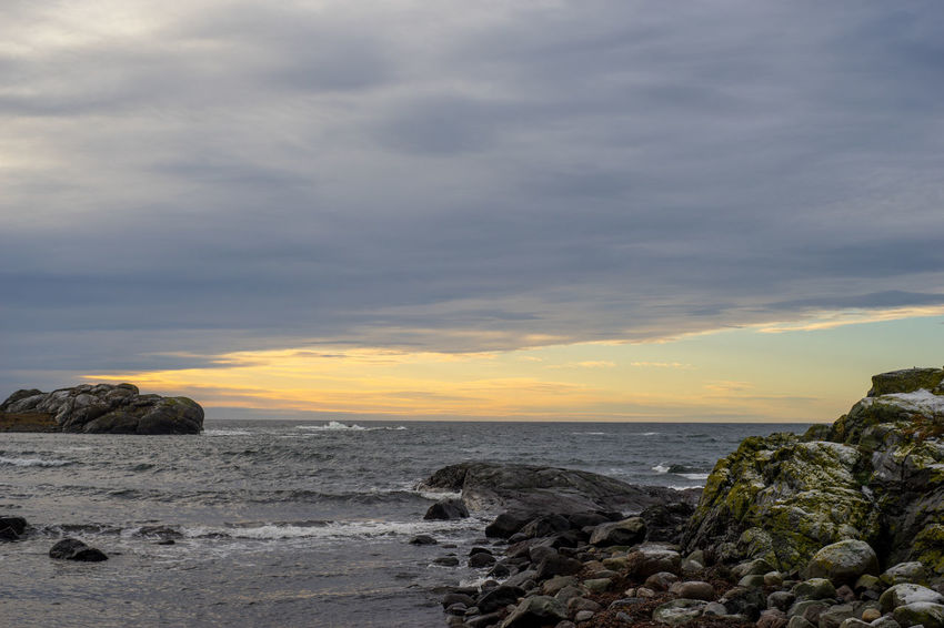 The shortest day of the year Norway Beach Beauty In Nature Cloud - Sky Day Horizon Over Water Nature No People Outdoors Rock - Object Scenics Sea Sky Sunset Tranquil Scene Tranquility Water Wave