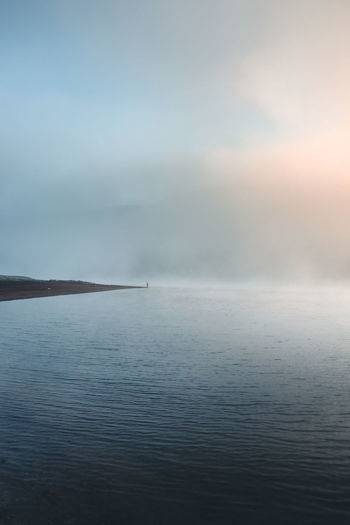 Scenics - Nature Water Beauty In Nature Tranquility Tranquil Scene Waterfront Sky Sea Cloud - Sky No People Nature Day Idyllic Fog Non-urban Scene Outdoors Remote Fog Over Water Sunrise Landscape Landscape_Collection Nature Nature_collection Blue Shore A New Perspective On Life