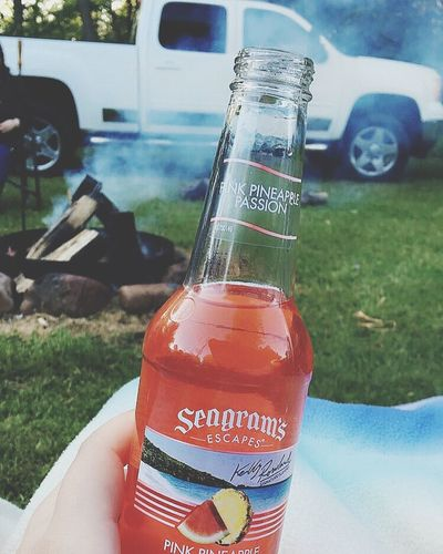 Camping Truck Outdoors Fire SeagramsEscapes Seagrams Alcohol