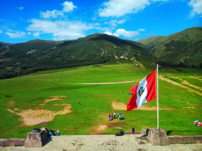 Peru celebrates Independence Day Flag Mountain Landscape Outdoors Day Independence Day Perù 🇵🇪