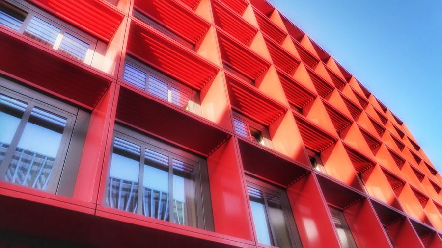 Colorful facade in Frankfurt am Main, Germany Architecture Red Built Structure Building Exterior Low Angle View Modern No People Façade Facade Detail Geometric Shape Geometry