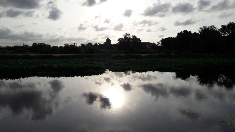 Sunlight, Morning,View,Sky,The Canal at Samutprakarn near Bangkok in Thailand