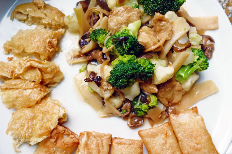 tasty vegan meal Asian  Broccoli Calories Close-up Cooking Delicious Food Freshness Fried Indulgence Meal Meat No People Ready-to-eat Selective Focus Served Serving Size Soy Sauce Spring Rolls Still Life Temptation Tofu Vegan Vegetarian Food Vitamins