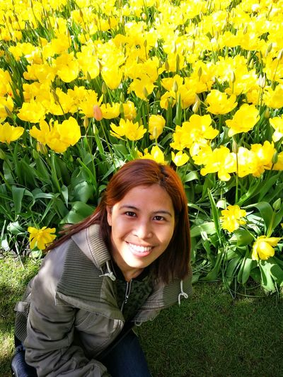 Just me. Flower Young Women Portrait Beautiful Woman Smiling Happiness Beauty Cheerful Yellow Looking At Camera