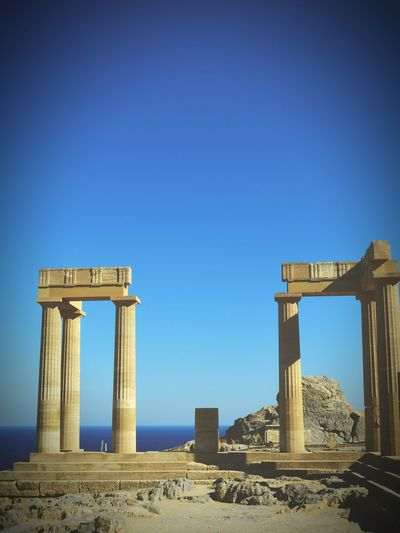 Greece History Acropolis Architectural Monumemt Tourism Famous Place Blue Sea Clear Sky Travel Destination Awesome Architectural History Lindos Greece
