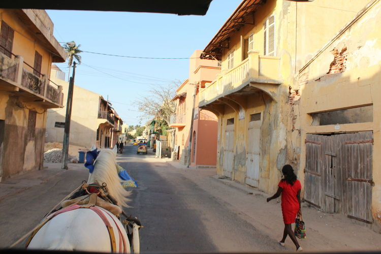 Both moving Architecture Walking Sky Travel Experience Africa Senegal Viajar Stlouis Building Exterior Adventures In The City Raconets Building Street Real People People Outdoors Horse City Transportation Women Moments Beautiful Special