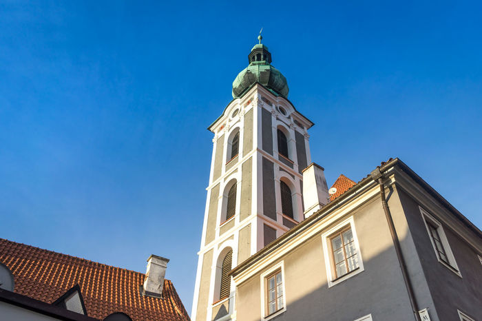 church in Cesky Krumlov Architecture Blue Building Exterior Built Structure City Clear Sky Day High Section Low Angle View No People Outdoors Sky