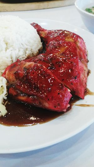 Meat Meat! Meat! Meat! Big Chunks Of Meat Chicken Bbqchicken Saucebarbeque Red Red Meat Chickenrice Chicken Rice