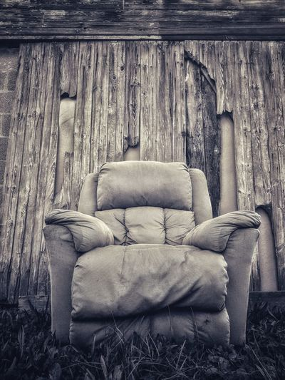 Old chair on sofa
