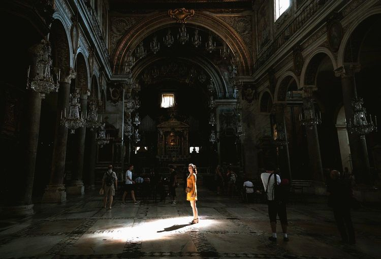 unexpected Built Structure Indoors  Architecture Real People Italy Rome Rome, Italy Church Cathedral Light And Shadow Traveling Travel Photography BYOPaper!