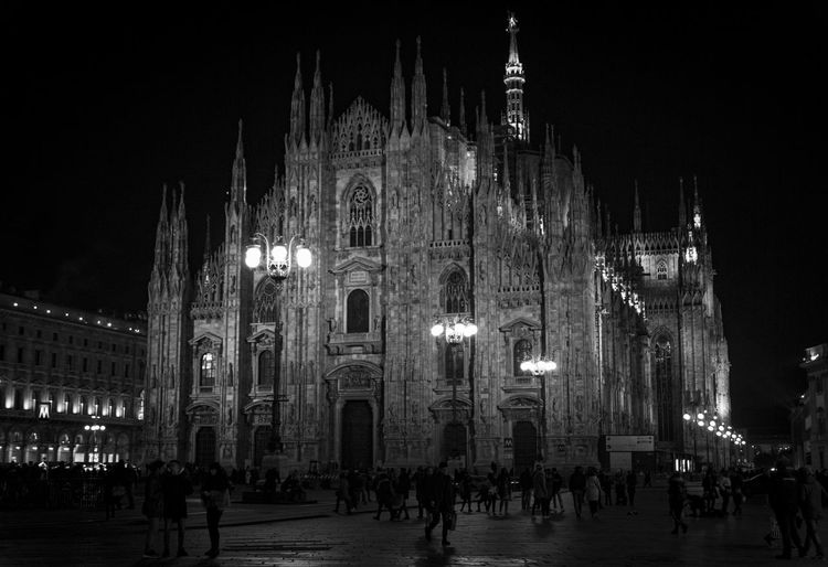 Built Structure Building Exterior Architecture Night Illuminated Large Group Of People Crowd Travel Destinations City Building Religion Tourism Place Of Worship Group Of People Belief Travel Spirituality Piazza Del Duomo DuomoDiMilano