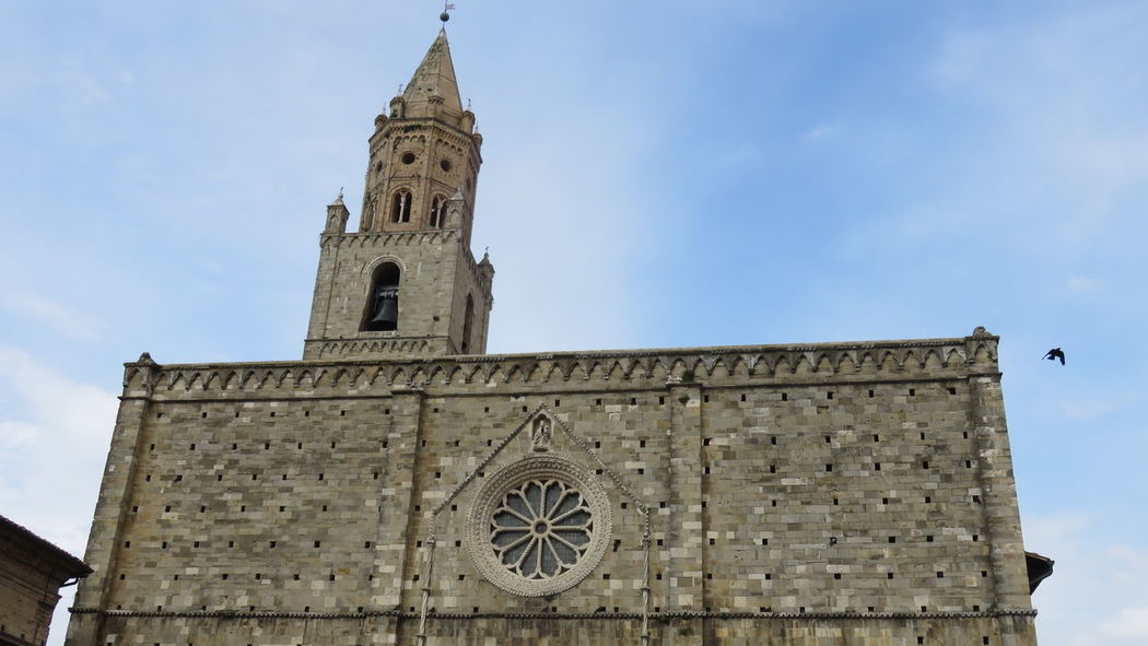 Abruzzo - Italy Architecture Bell Tower - Tower Blue Building Exterior Built Structure Church Cloud Cloud - Sky Cross Day High Section Low Angle View No People Outdoors Place Of Worship Religion Roman Catholic Cathedral Roman City Sky Spirituality Tall - High Tower