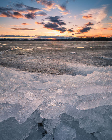 Scenic spring landscape with melting ice and sunset at evening time in Finland Finland Light Sunset_collection Beauty In Nature Cloud - Sky Cold Temperature Crystal Evening Frozen Horizon Horizon Over Water Ice Landscape Nature No People Orange Color Outdoors Scenics - Nature Sea Sky Spring Sunset Tranquil Scene Tranquility Winter