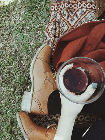 Wine Not Wineglass Vinho Vino Vinorosso Wine Grass One Person Human Body Part Nature People Autumn Mood