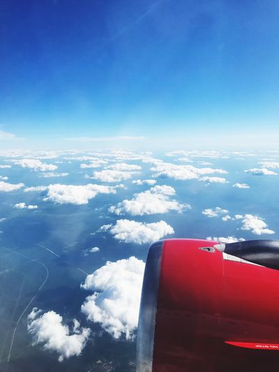 Airplane Transportation Aerial View Blue Sky Journey Mode Of Transport Air Vehicle Day Cloud - Sky No People Beauty In Nature Nature Airplane Wing Outdoors Travel Scenics Flying Vehicle Part Clouds And Sky Let's Go. Together.