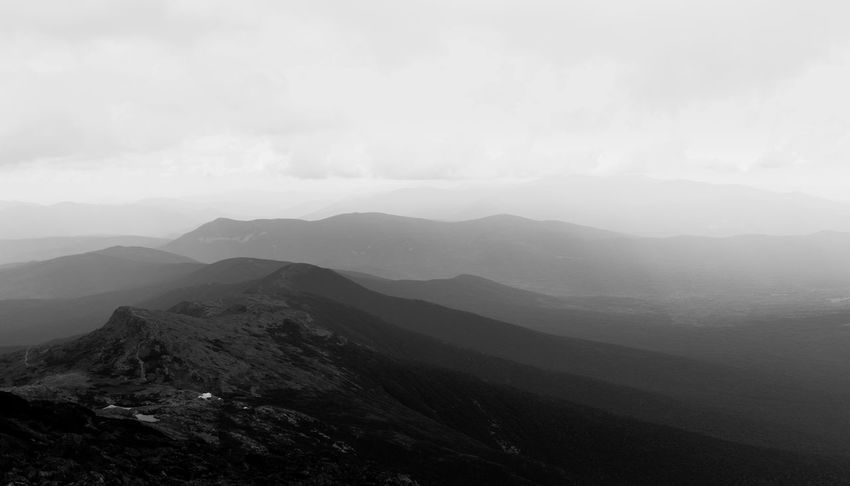 A dramatic black and white landscape of the White Mountains in Vermont and New Hampshire Blackandwhite Clouds Dramatic Landscape Fog Landscape Mountain Mountain Range Mountains Nature Non-urban Scene Solitude Tranquility
