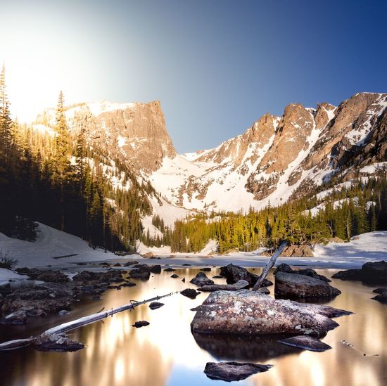 Dream Lake View Snow Sunset Sunrise Rocky Mountains Rocky Mountain National Park Estes Park, CO Dream Lake Mountain Snow Winter Nature Scenics Tranquil Scene Tranquility Beauty In Nature Cold Temperature Clear Sky Mountain Range Lake Water No People Landscape Outdoors Sky Day