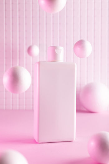 Close-up of pink balloons on table