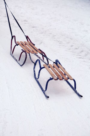 Cold Cold Temperature Day Fun High Angle View Holidays Leisure Activity Nature No People Outdoors Playing Sled Sledge Sleigh Snow Two Vacations Winter Winter Sport