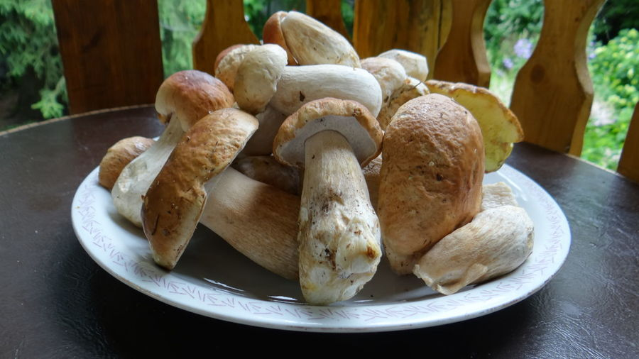 Close-Up Of Edible Mushroom In Plate On Table