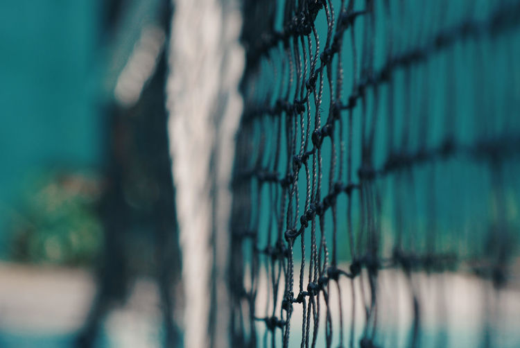 Close-up of tennis net