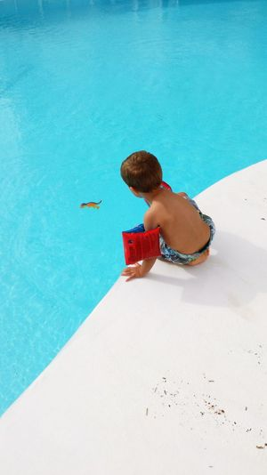 High Angle View Of Boy Sitting At Poolside