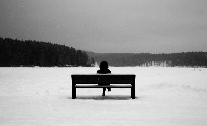 Rear view of woman sitting on bench in snow covered field