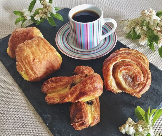 Food And Drink Coffee - Drink Coffee Cup Croissant Freshness Drink Food Refreshment Table No People Tea - Hot Drink Ready-to-eat Indoors  Plate Sweet Food Breakfast Close-up Day French Breakfast
