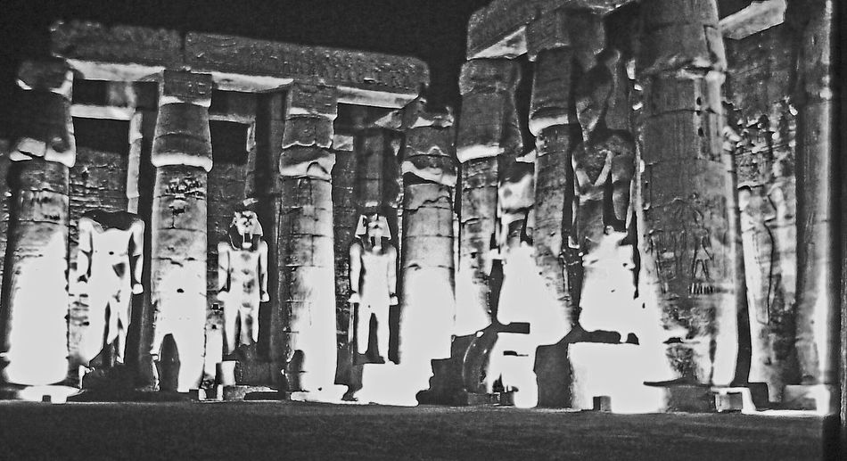 Son et Lumier (sound and light) at the Temple of Karnak, Luxor, Egypt Blackandwhite Photography Close-up Day Egypt Karnak Temple Large Group Of Objects Luxor No People Outdoors Place Of Worship Religion Son Et Lumière Spirituality