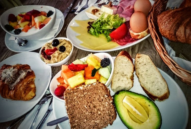 Breakfast Brunch Avocado Cold Cuts Hummus Croissants Cheese Breakfast Is Served Breakfast Table Breakfast Selection Fruit Salad Hard Boiled Eggs Cotidiano München Showcase July