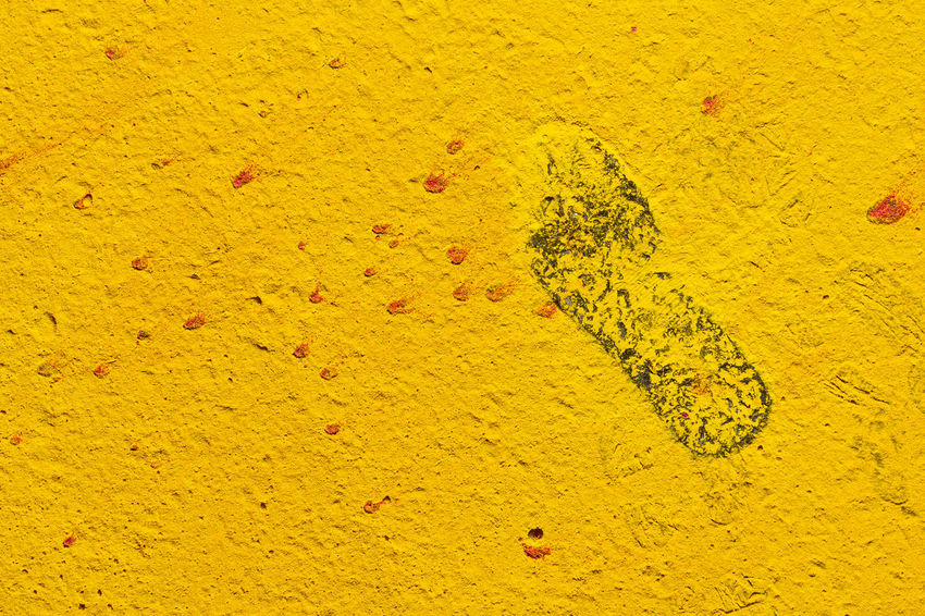 FootPrint Footprints Paint The Town Yellow Running Close-up FootPrint Ground Human Track No People Textured  Yellow Yellow Color