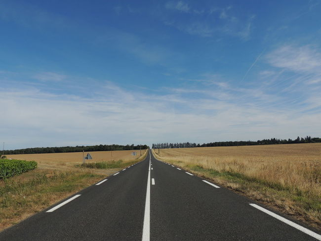 France Loire Touraine Cloud - Sky Day Diminishing Perspective Direction Dividing Line Environment Field Land Landscape Marking Nature No People Outdoors Road Road Marking Sign Sky Symbol The Way Forward Tranquil Scene Transportation vanishing point