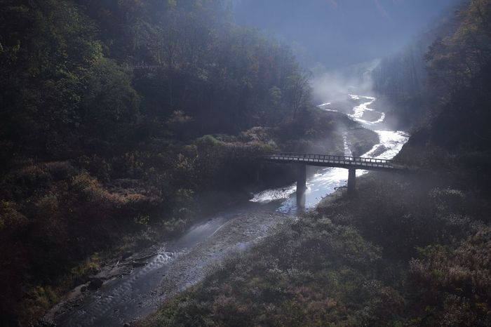 Night Haze River Connection Nature Bridge - Man Made Structure Outdoors No People Beauty In Nature Mountain