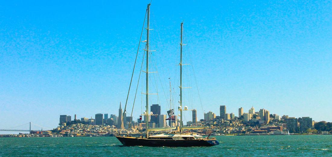 San Francisco Skyline California Boat Ocean Sailboat