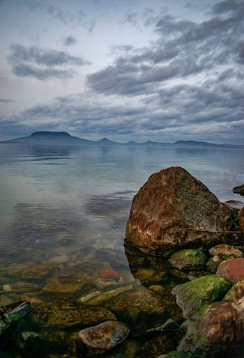 Hungarian table top mountain. Lake Lake View Nature Photography Nature Clouds Clouds And Sky Water Beach Rock - Object Sky Horizon Over Water Landscape Rocky Coastline Rocky Coastline Calm Shore Coast