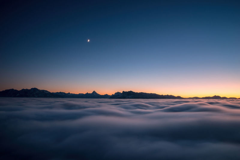 Sea of clouds in motion above salzburg, austria.