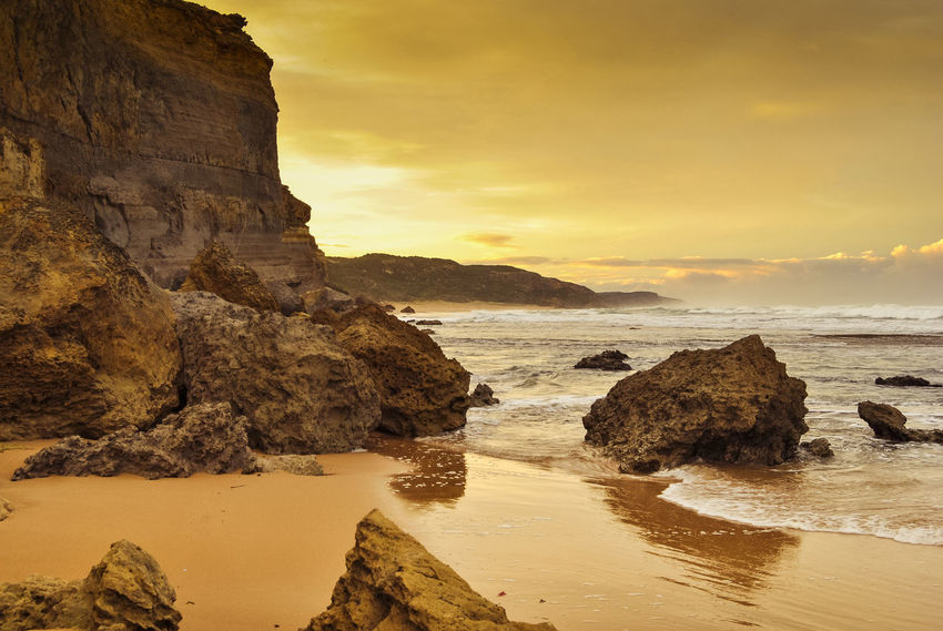 Beach Beauty In Nature Cliff Day Horizon Over Water Nature No People Outdoors Rock - Object Rock Formation Scenics Sea Sky Sunset Tranquil Scene Tranquility Water Lost In The Landscape