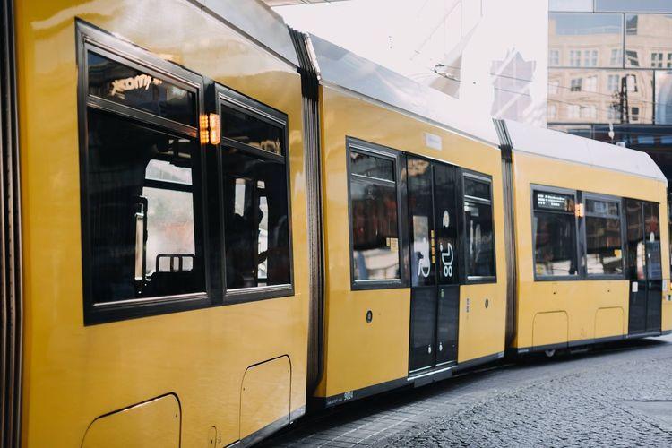 Yellow train on window
